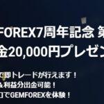 海外FXボーナス GEMFOREX口座開設