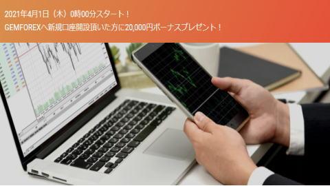 GEMFOREX口座開設ボーナス2021-04-01